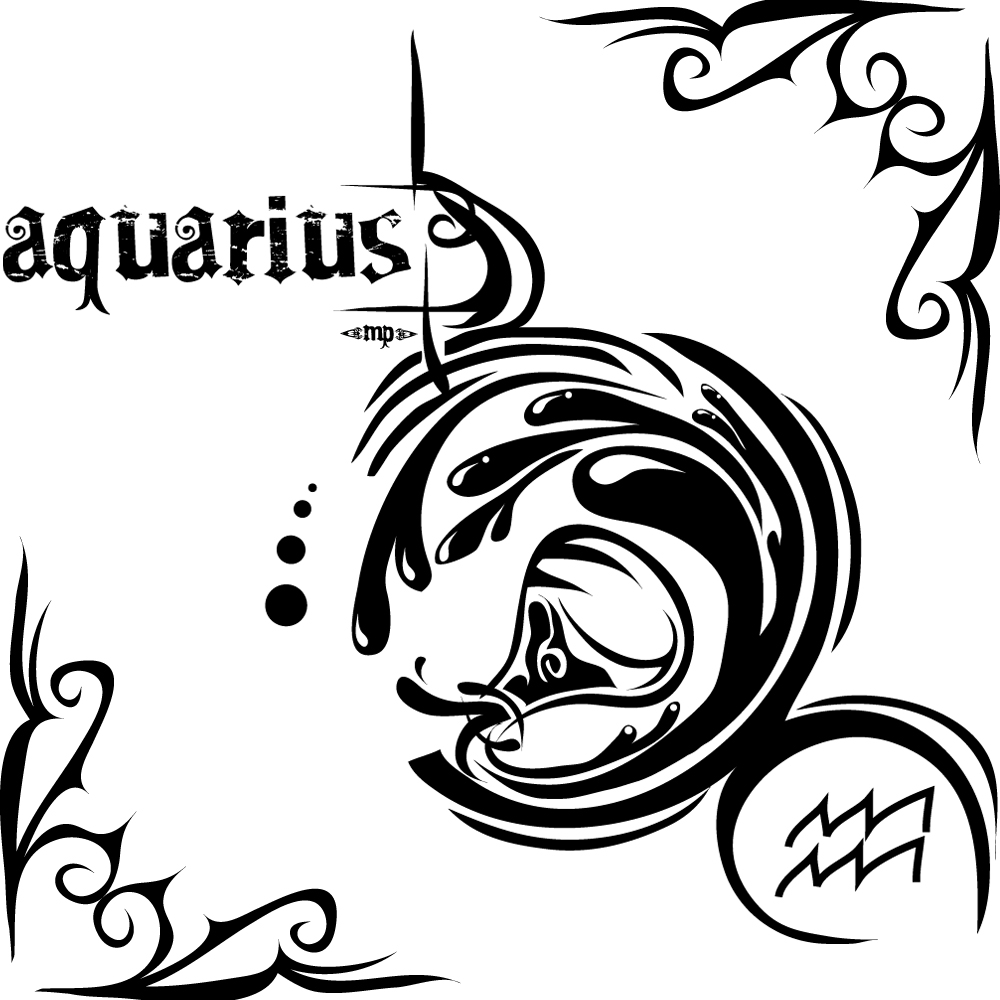 Tribal Water Bearer Aquarius Tattoo Design photo - 3