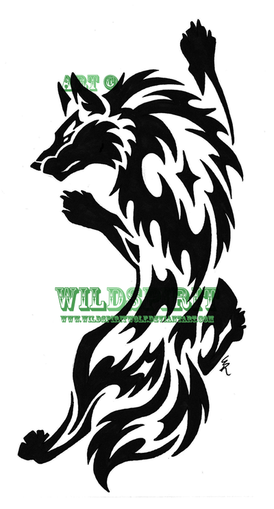 Tribal Wolf And Moon Tattoo Design photo - 2