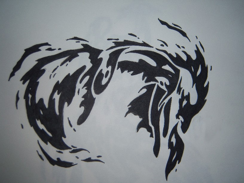 Tribal Wolf Fire And Flame Tattoo Sample photo - 1