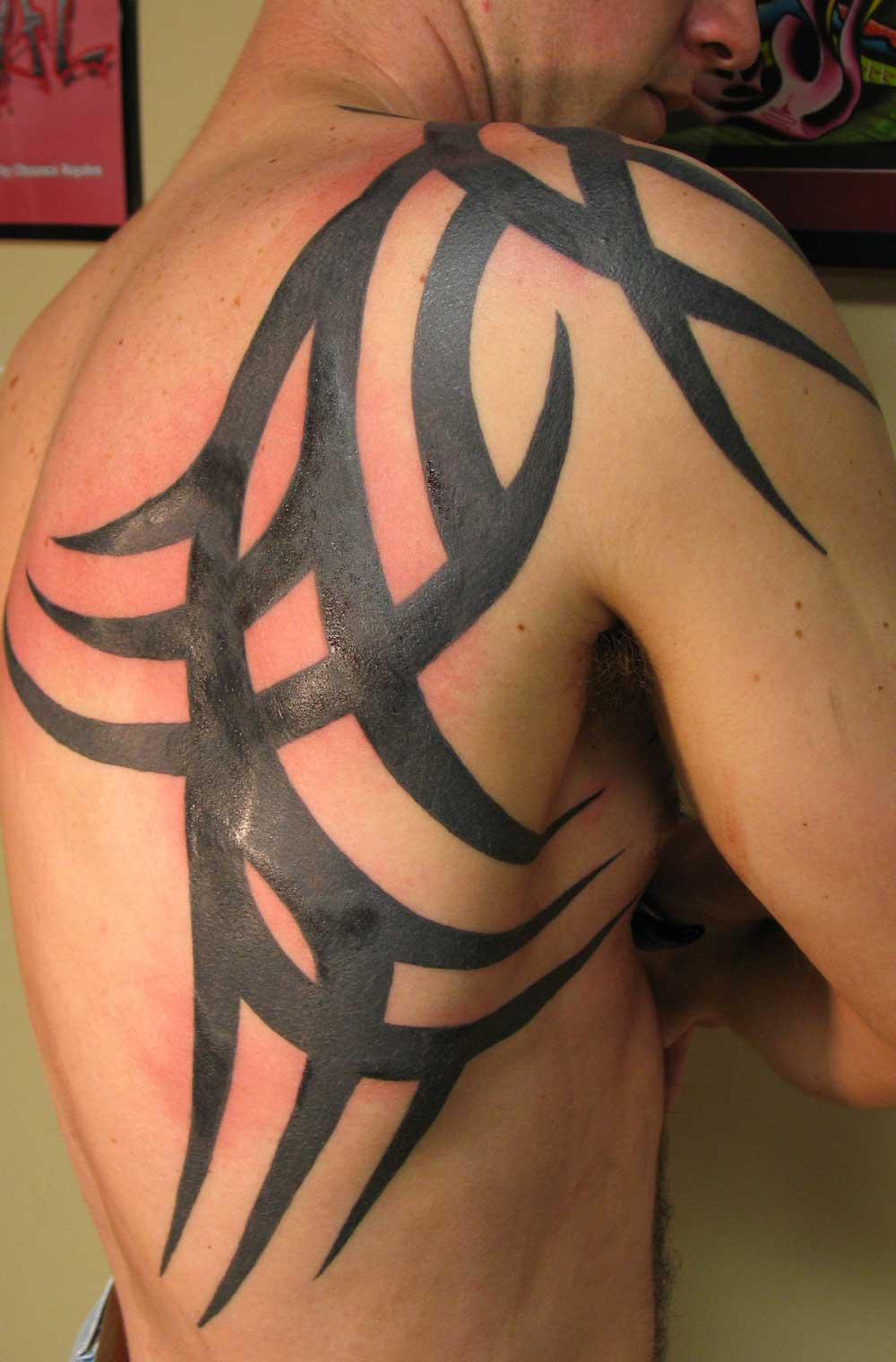 Tribal Wolf Moon Tattoo On Right Back Shoulder photo - 1