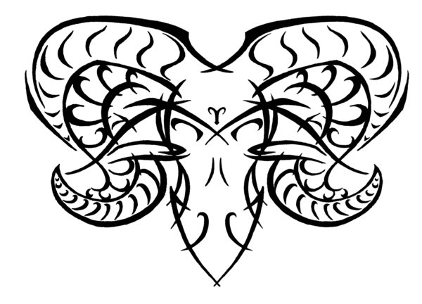 Tribal Zodiac Aries Tattoo Stencil photo - 2