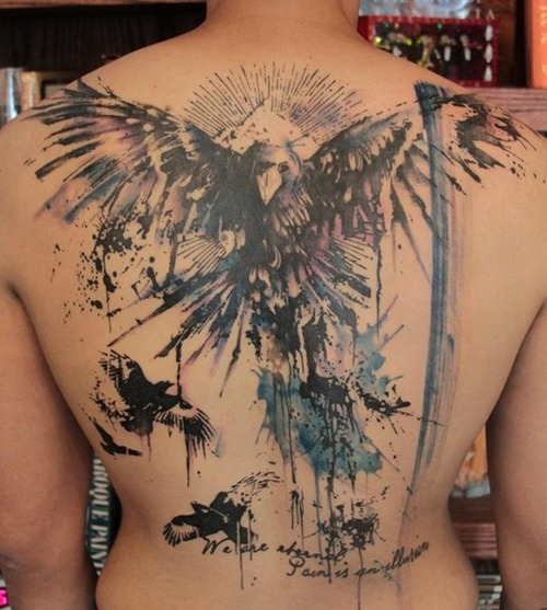 Unique Moon Tattoo On Upper Back photo - 2