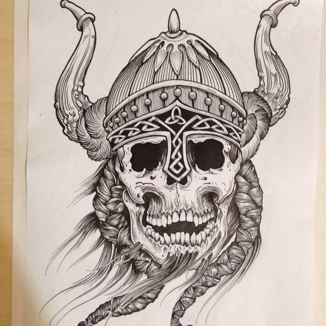 viking skull tattoo in 2017 real photo pictures images and sketches tattoo collections. Black Bedroom Furniture Sets. Home Design Ideas