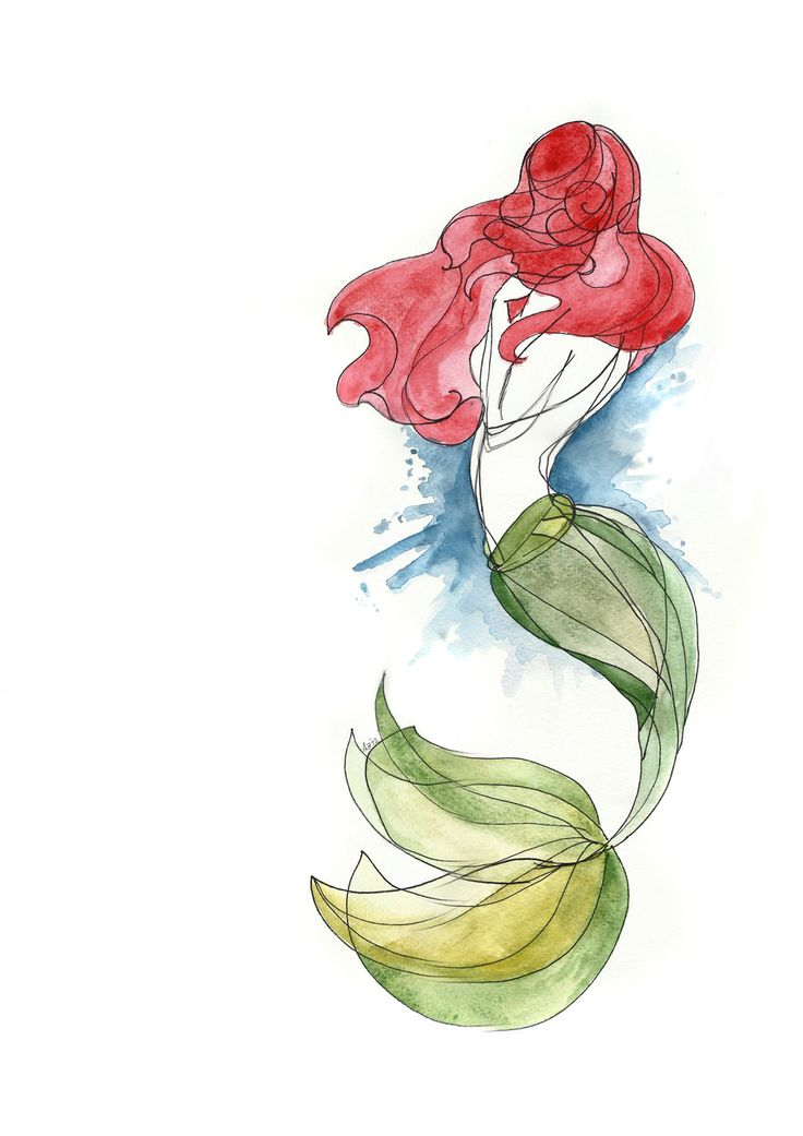 Water Color Little Mermaid Tattoo Design photo - 1
