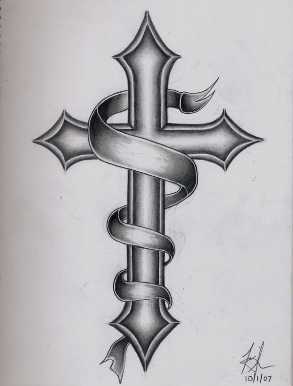 Western Cross Tattoo Picture photo - 1