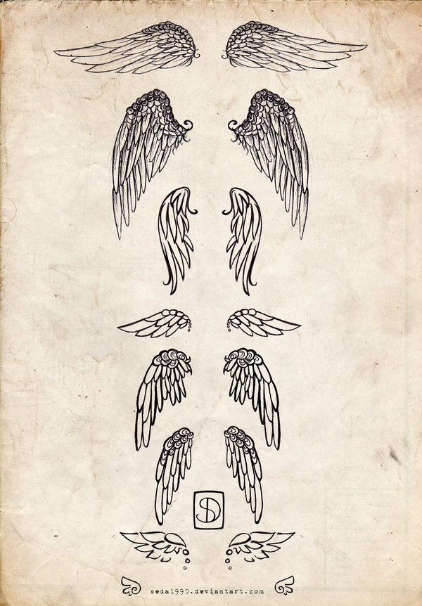 Winged Angel And Tribal Tattoos On back photo - 2