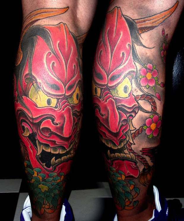 Without Color Hannya Mask Tattoo Design photo - 2