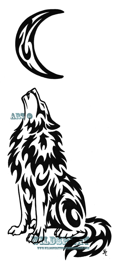Wolf And The Moon Tattoo On Shoulder photo - 1