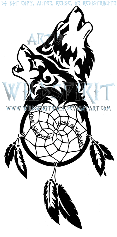 Wolf Dreamcatcher Tribal Tattoo Design photo - 1