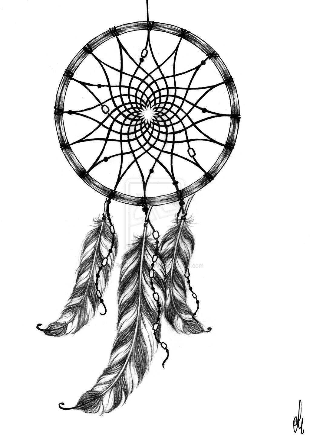 Wolf Dreamcatcher Tribal Tattoo Design photo - 3