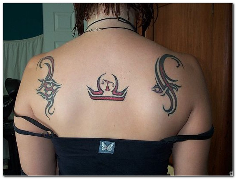 Zodiac Libra And Tribal Tatto On Upper Back photo - 1